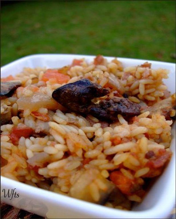 Poêlée de riz aux foies de volaille