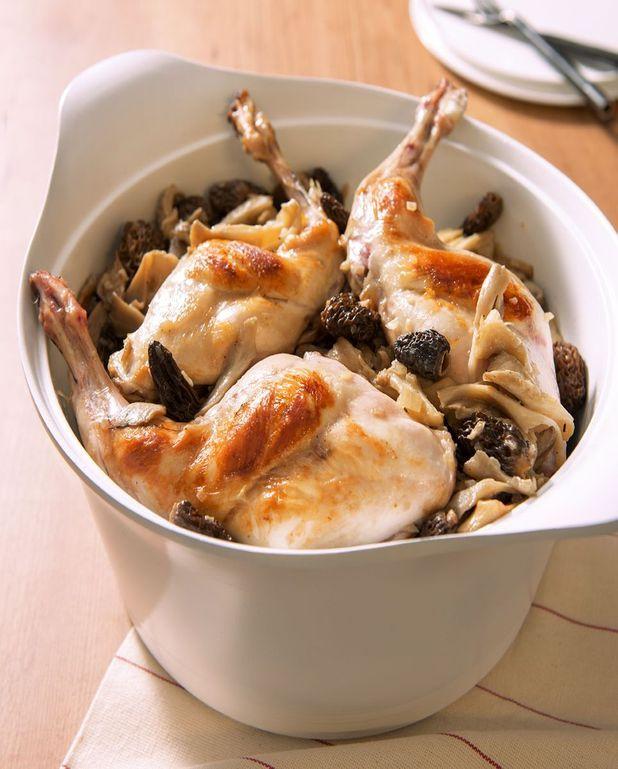 Cuisses de lapin safranées, fricassée de champignons