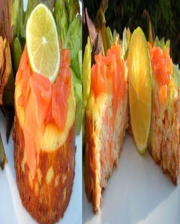 Délice au saumon sur son sablé au fromage