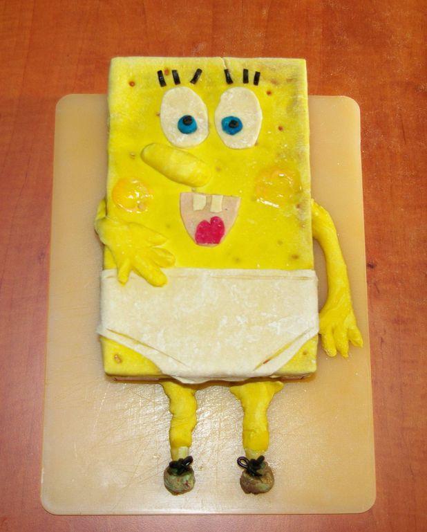 Gâteau Bob l'éponge aux framboises