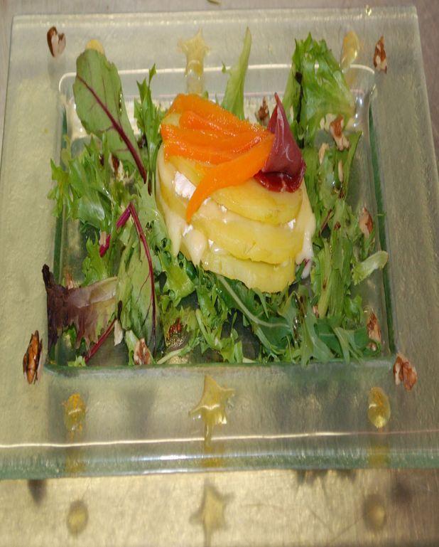 Millefeuille brie pomme de terre, carotte épicée