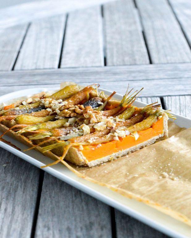 Tarte au potimarron et carottes végétalienne et sans gluten