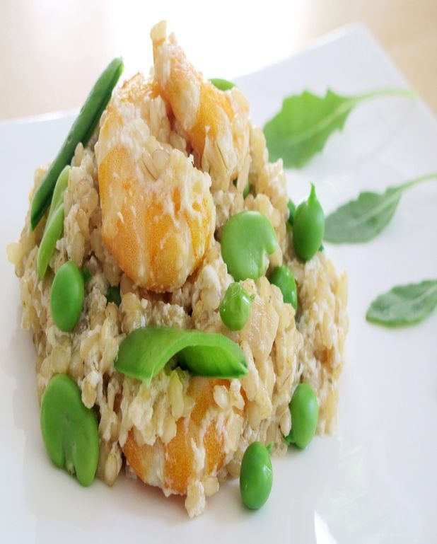 Risotto aux légumes verts, crevettes et ricotta
