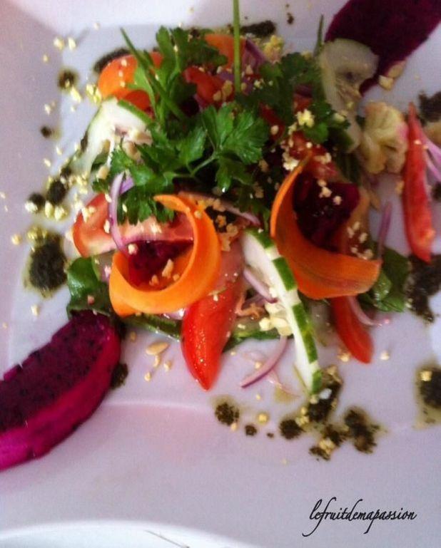 Salade au pitaya et pastèque