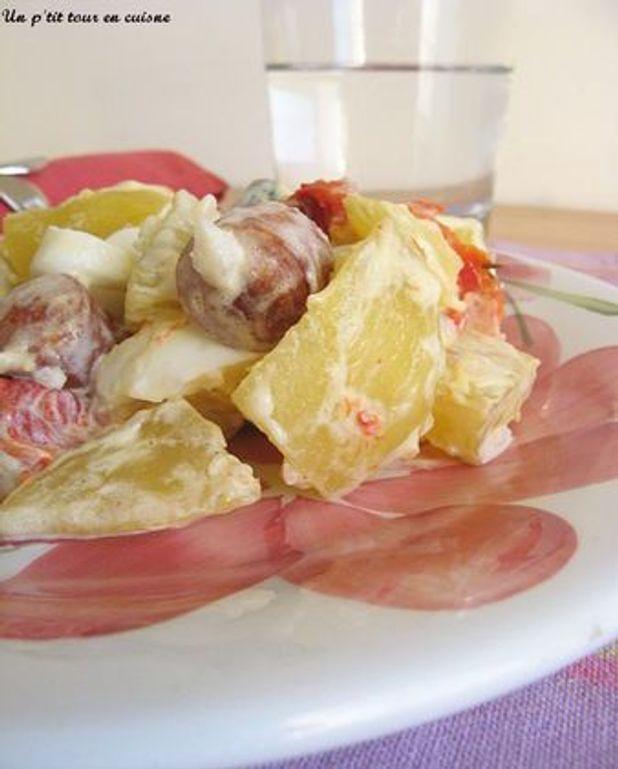 Salade de pomme de terre et sa petite sauce légère