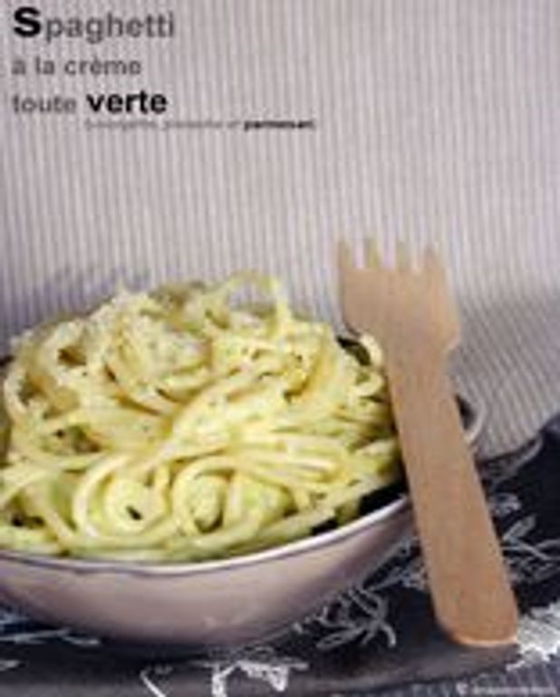 Spaghettis à la crème toute verte