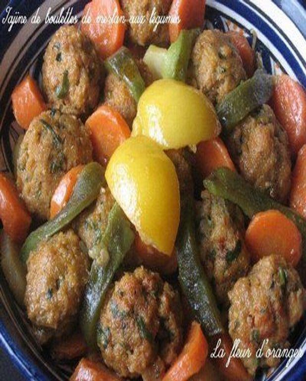 Tagine de boulettes de merlan aux légumes