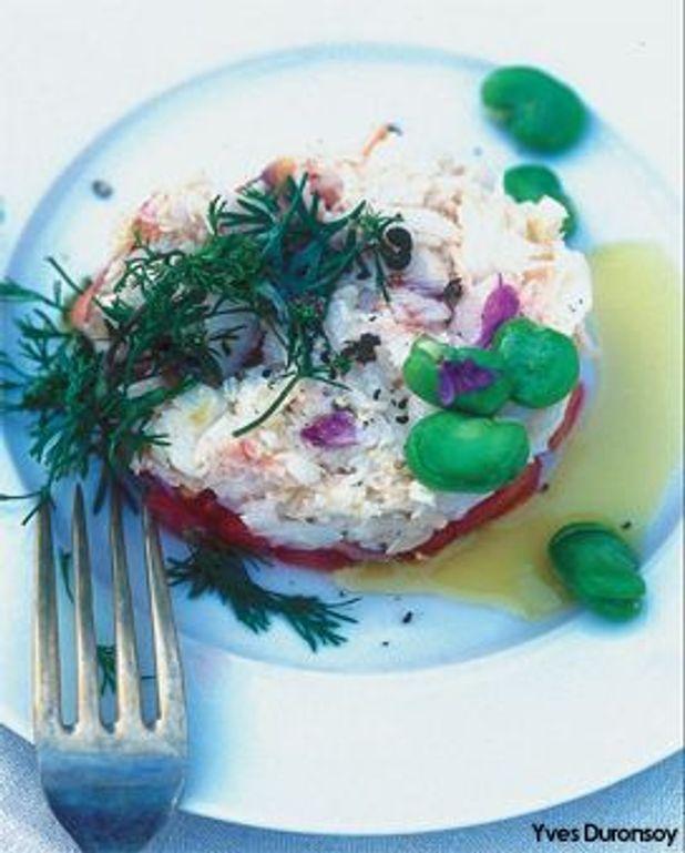Araignée en salade de coriandre, tomates, céleri