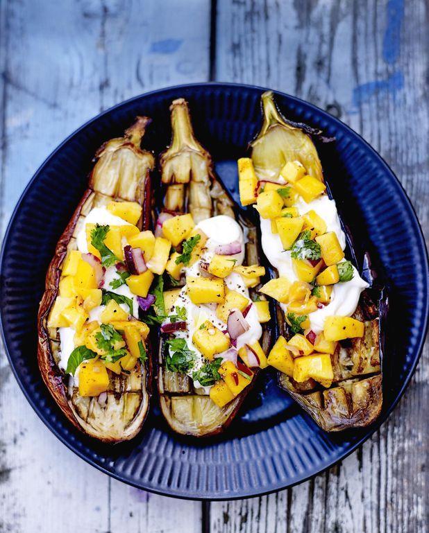 Aubergines, salsa de mangue fraîche
