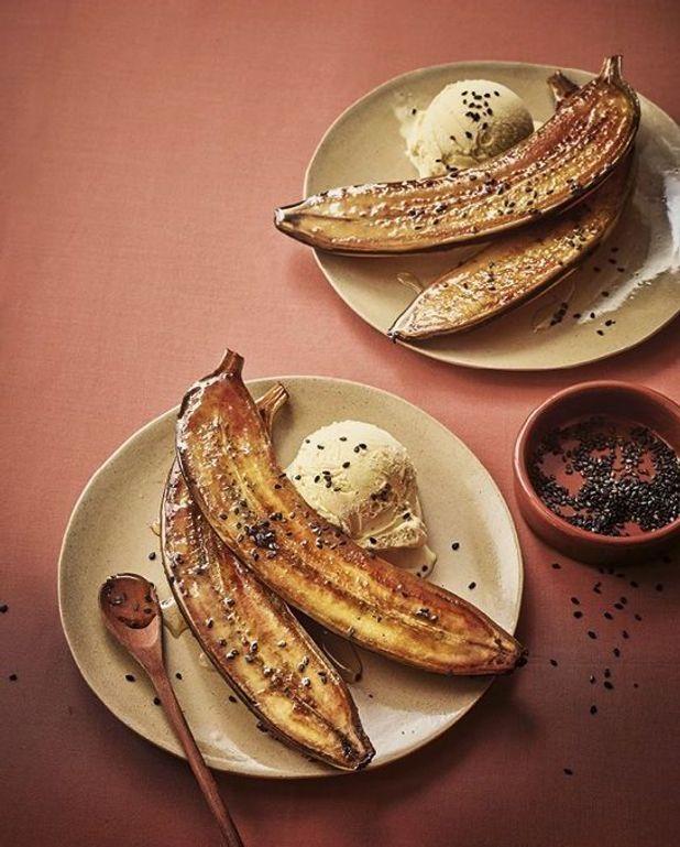 Bananes caramélisées, glace vanille