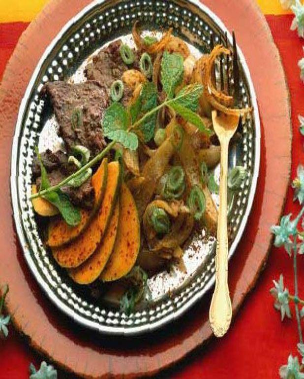Boeuf au garam masala - salade de mangue épicée