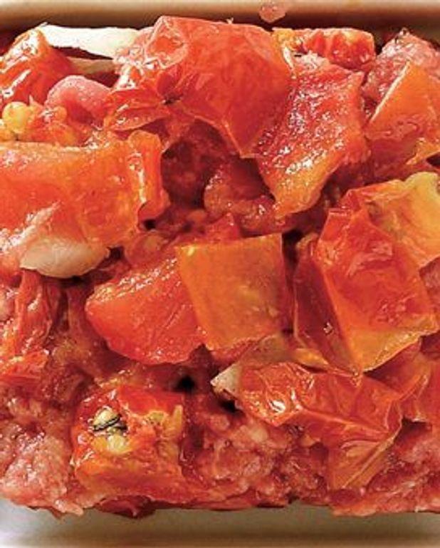 Boeuf en tartare aux tomates confites