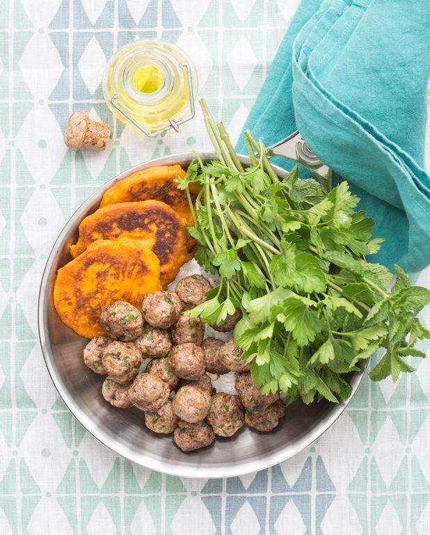 Boulettes et blinis de patates douces