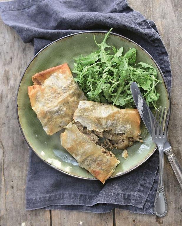 Bricks aux pleurotes et pancetta