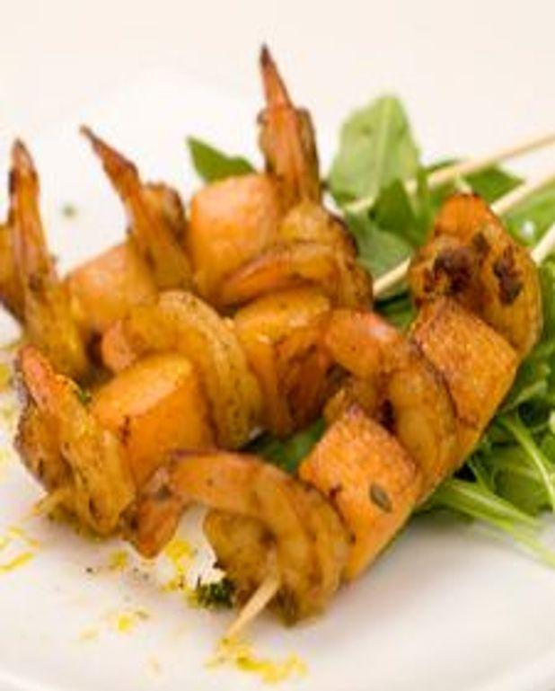 Brochette de crevette et courge au paprika