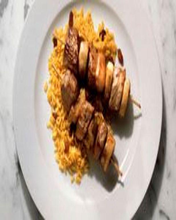 Brochettes d'agneau et riz madras