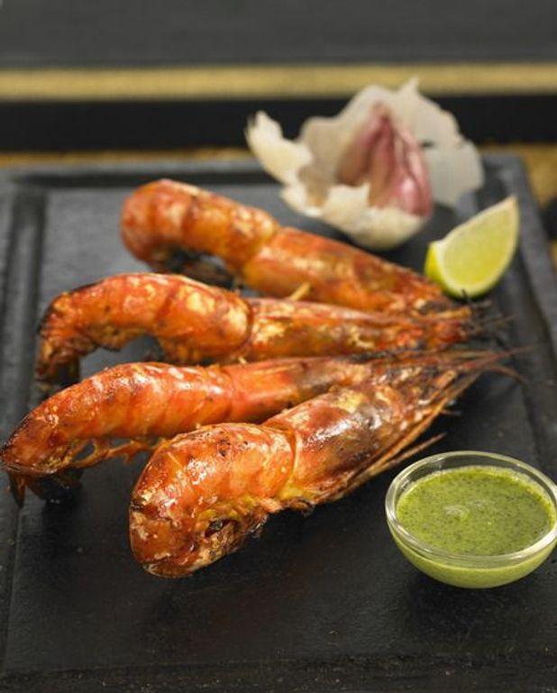 Brochettes de crevettes pimentées