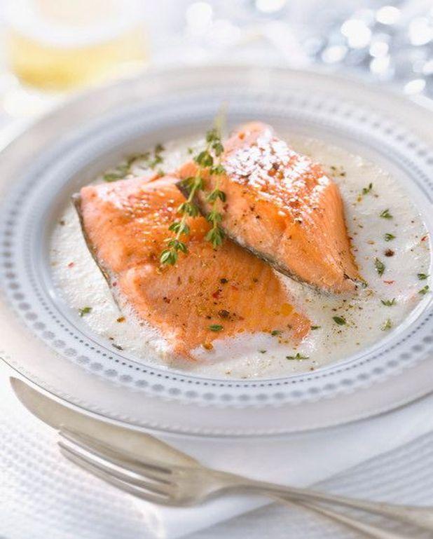 Brochettes de surimi et saumon au sabayon
