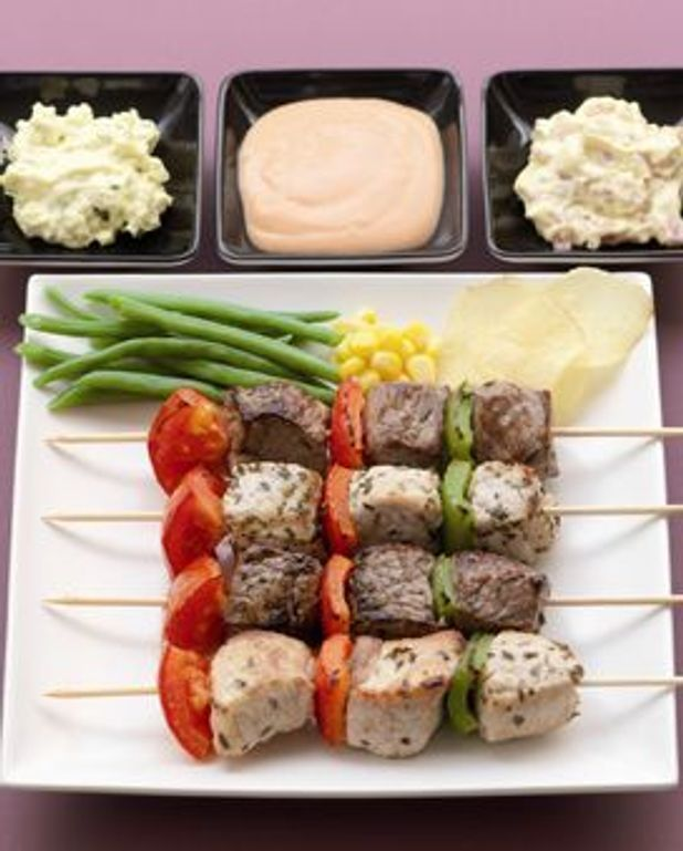Brochettes de viande à la sauce René