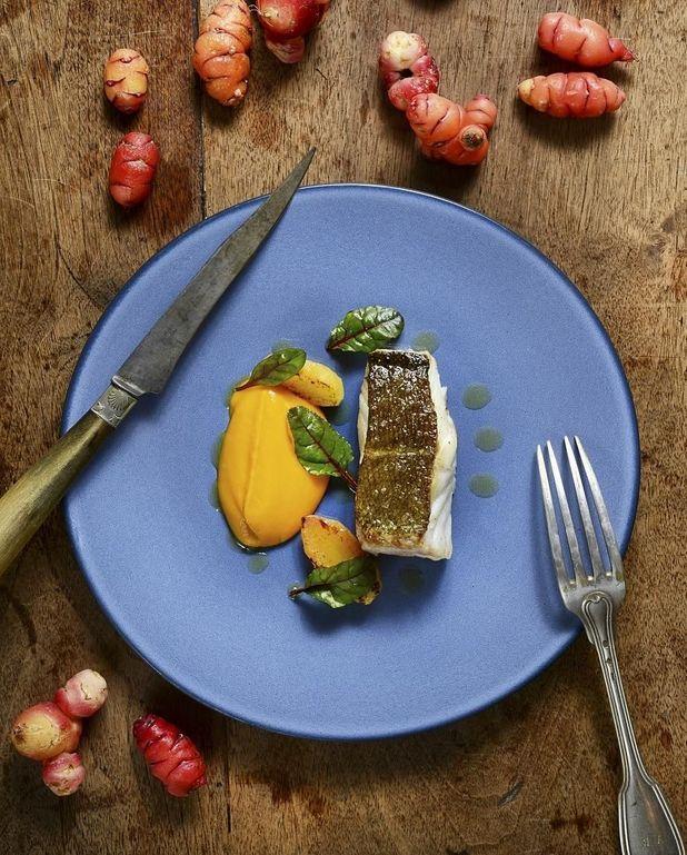 Cabillaud, oca du Pérou et carottes