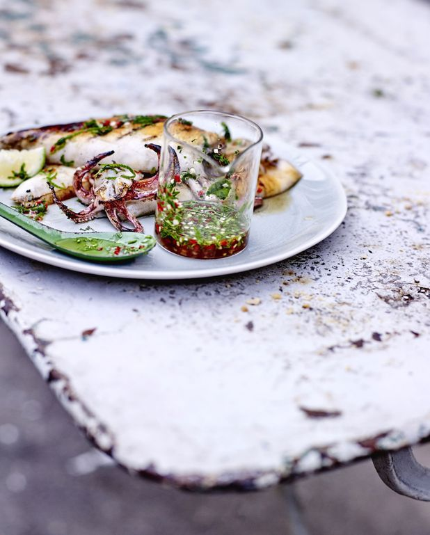 Calamars grillés, sauce thaïe