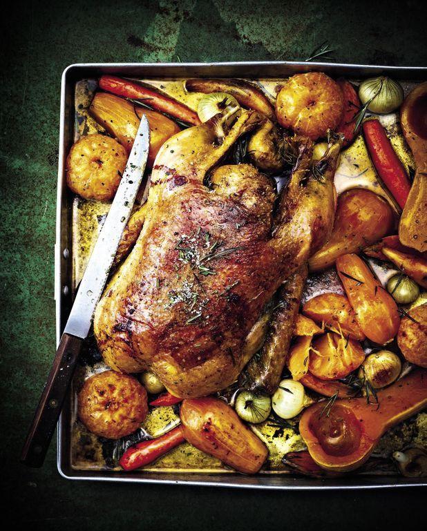 Canette rôtie au marsala, légumes de Noël et clémentines