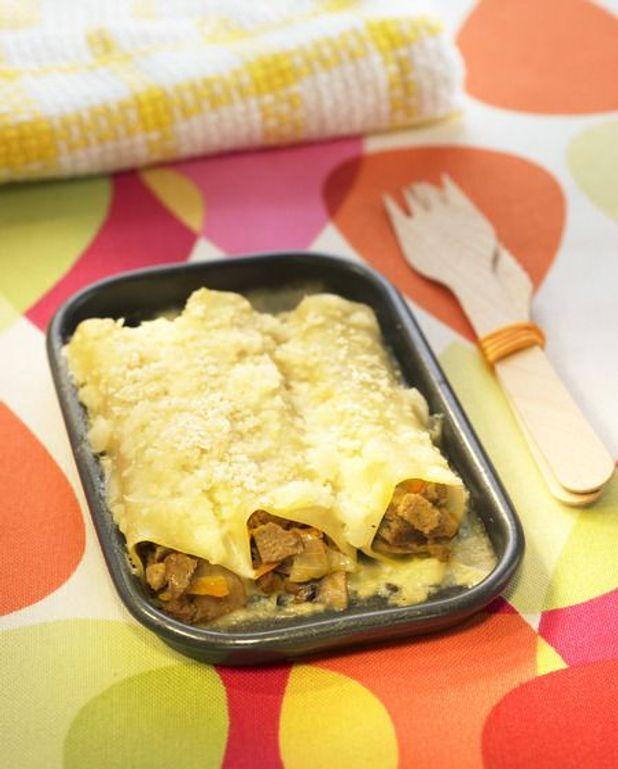 Cannelloni de confit de canard, pied de porc et feuilles de blette