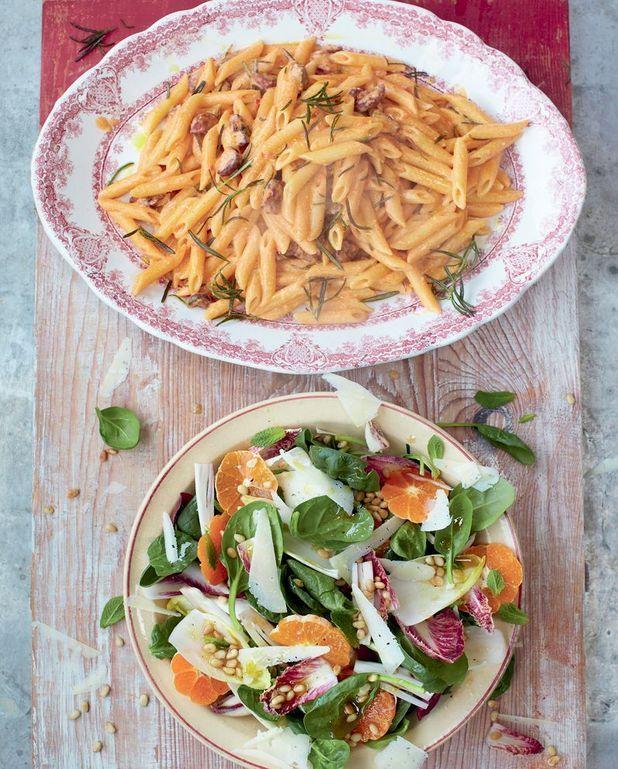 Carbonara au chorizo, salade catalane