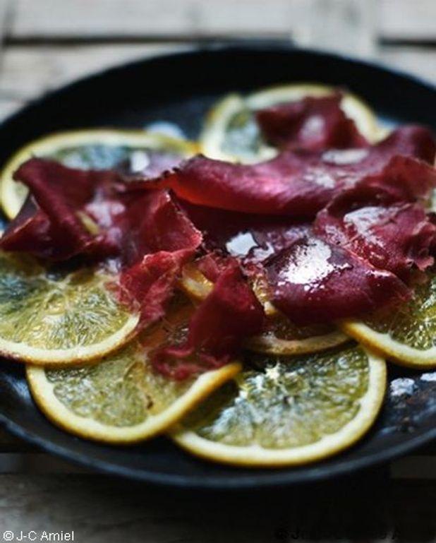Carpaccio de gros citrons, bresaola