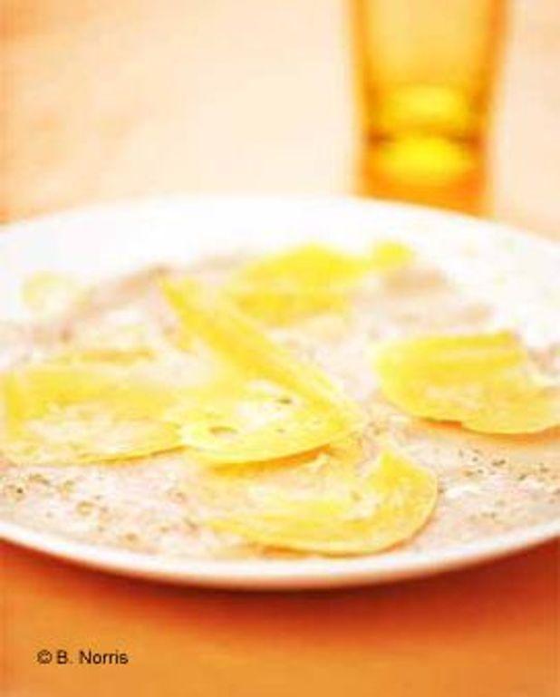 Carpaccio de veau à la mimolette