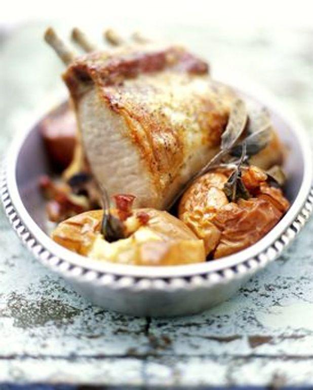 Carre de porc et pommes aux lardons