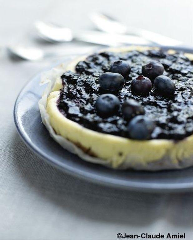 Cheese cake vanille, coulis de myrtilles