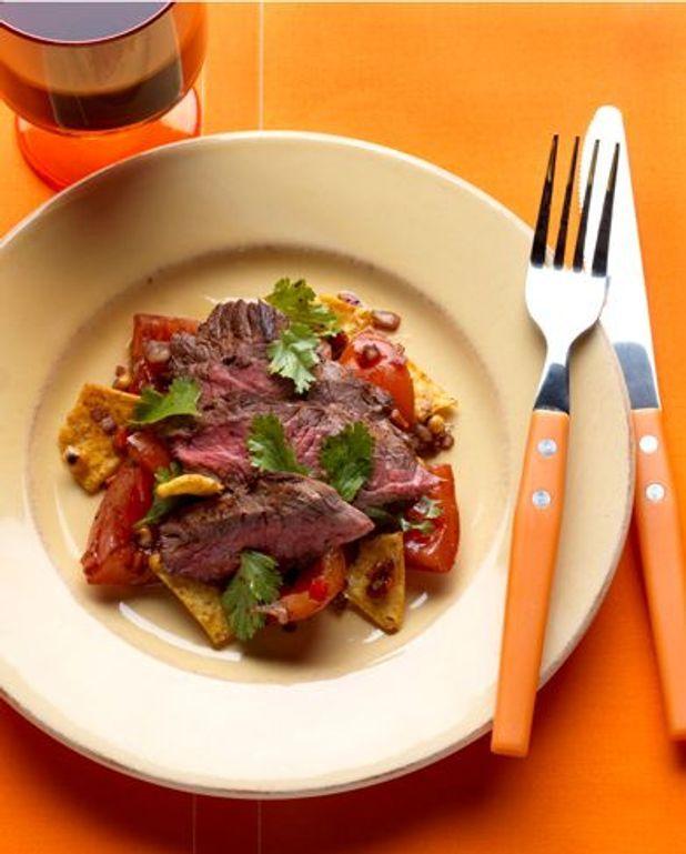 Chili rubbed skirt steak, tortilla fattoush