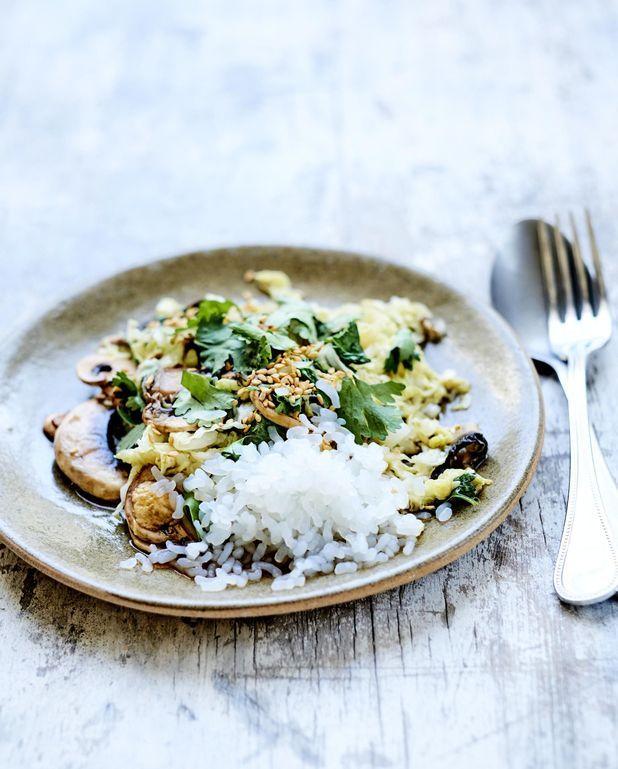 Chou chinois, champignons et « riz » de konjac