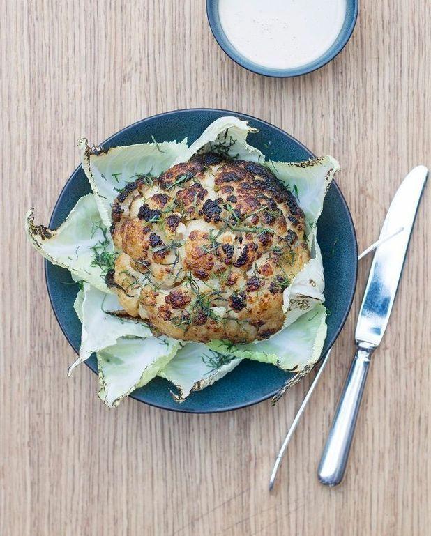 Chou-fleur rôti, sauce tahini citron