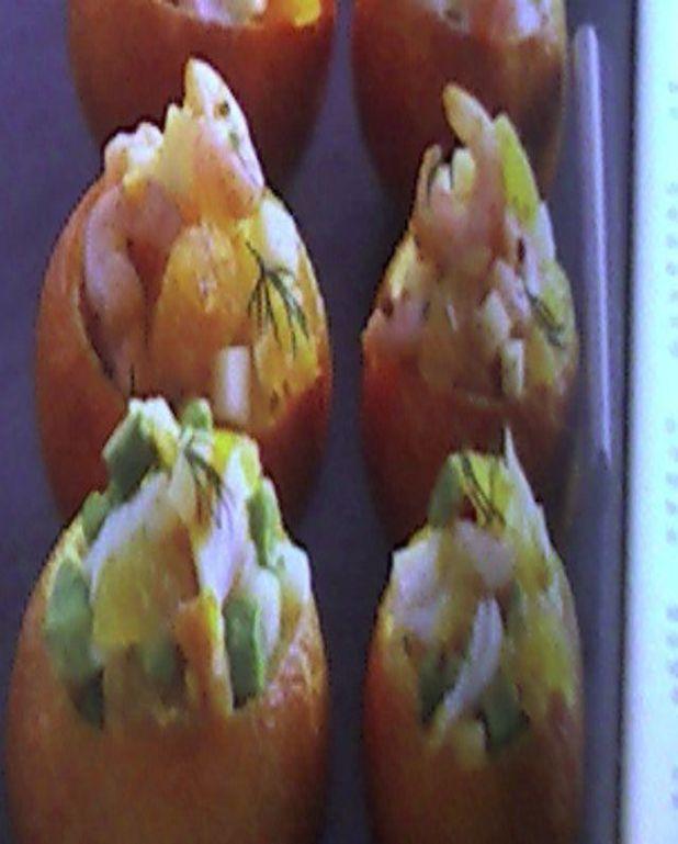 Clémentines farcies au crevettes