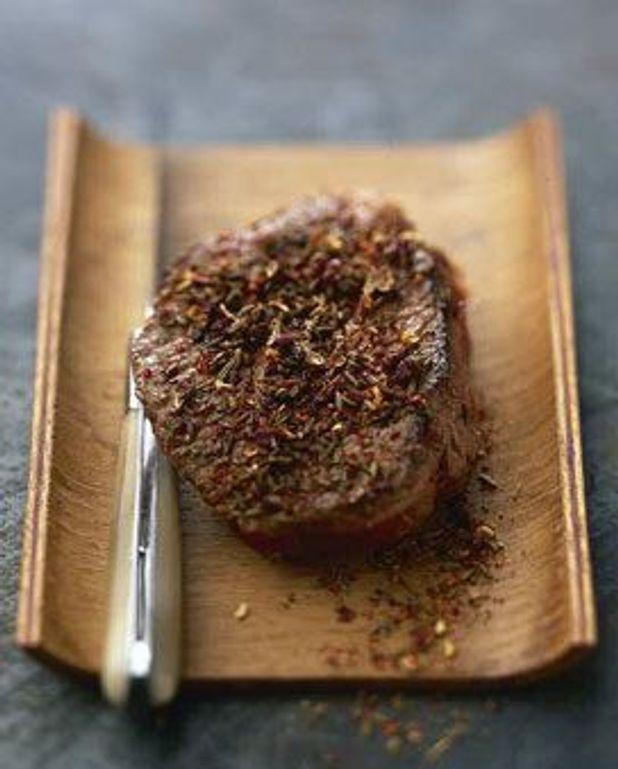 Coeur de filet de rumsteck en croûte d'épices
