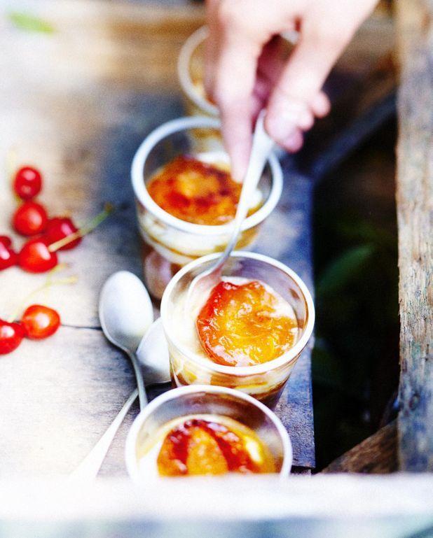 Compote d'abricot au sésame, yaourt glacé