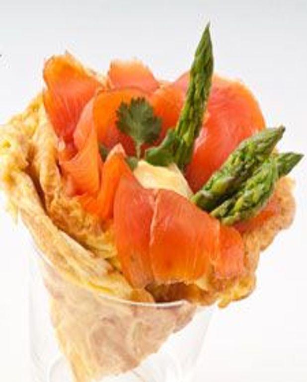 Cornet d'œufs au saumon fumé