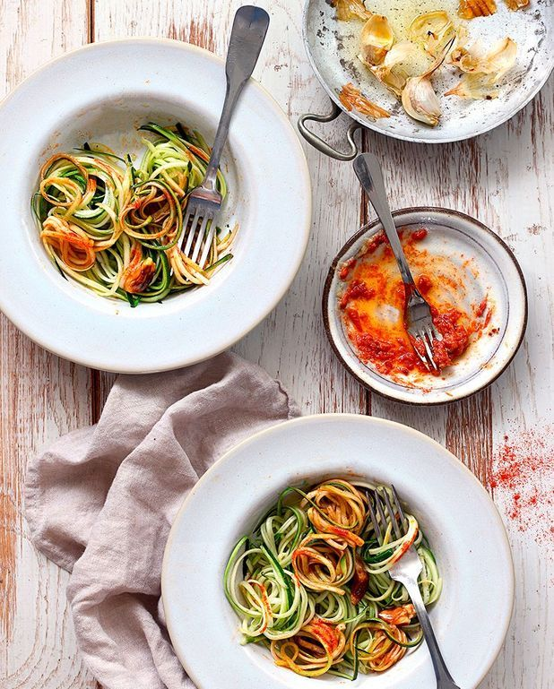 Courgettis, ail rôti et paprika fumé