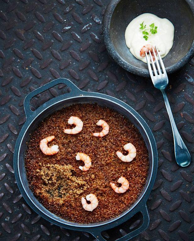Couscous de quinoa aux gambas et à l'aïoli
