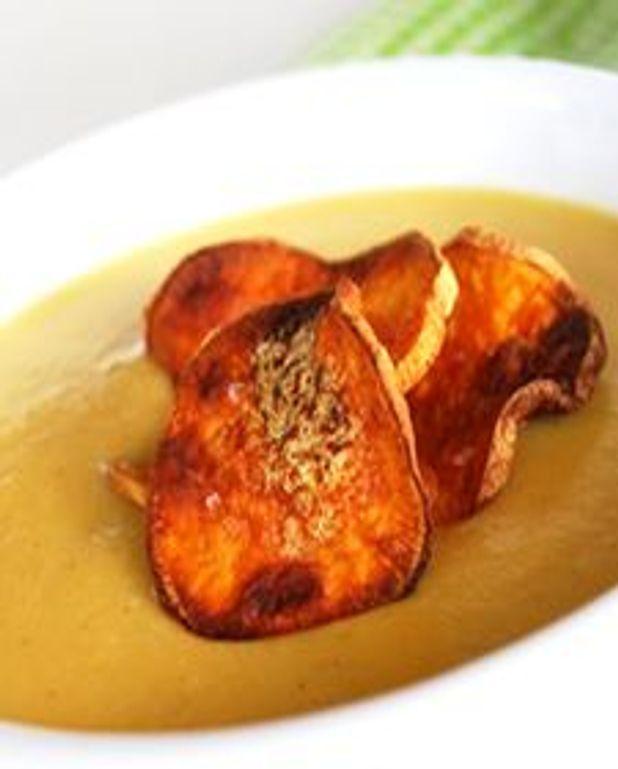 Crème de patates douces et de poireaux