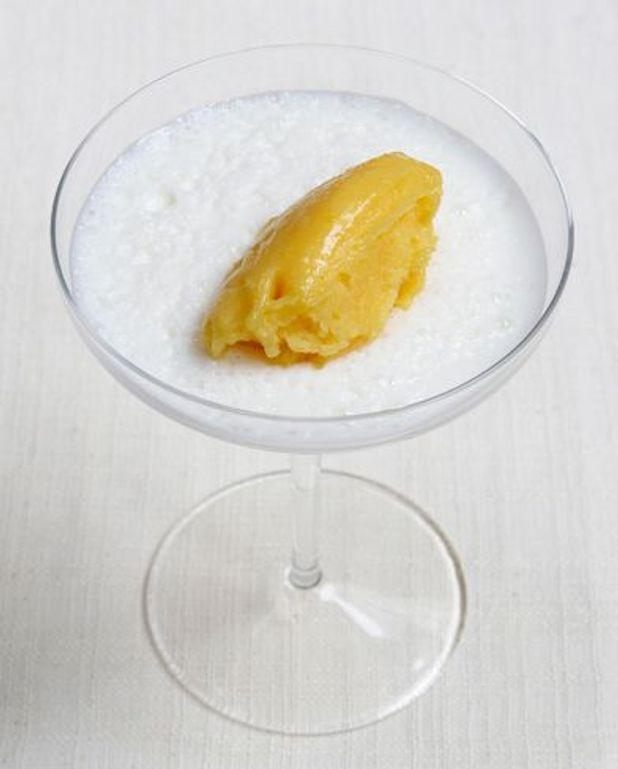 Crème de safran et sorbet orange