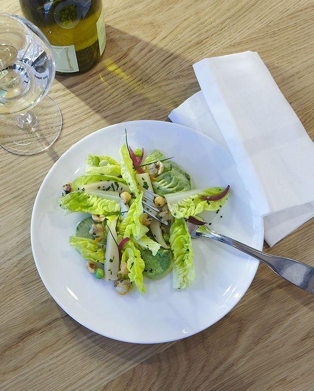Crémeux de petits pois en salade
