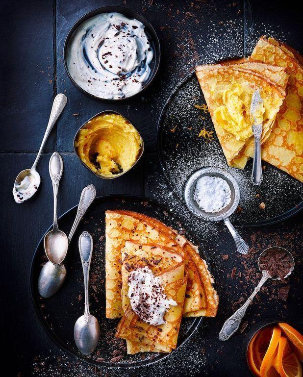 Crêpes à la crème de stracciatella et beurre à l'orange