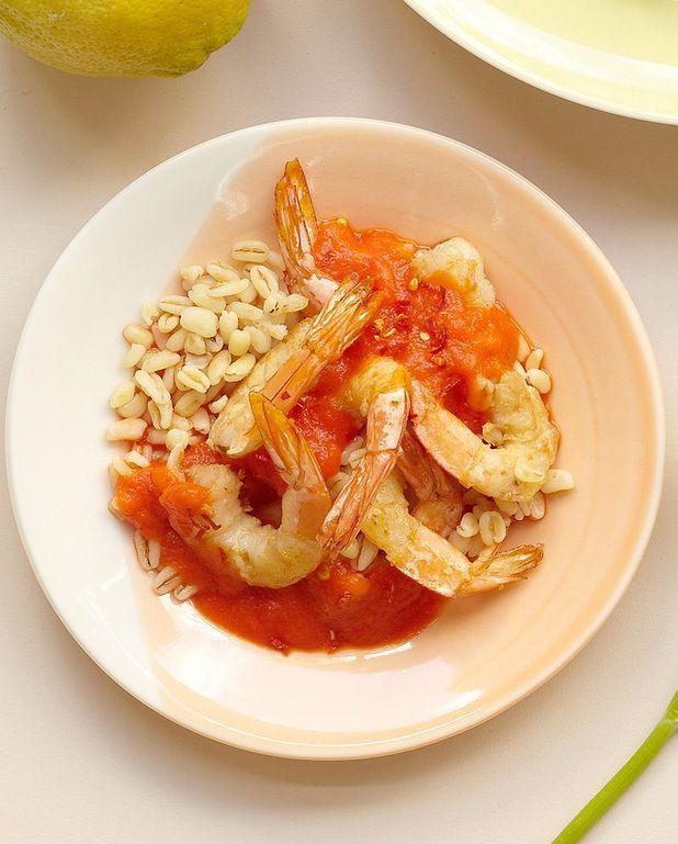 Crevettes au coulis de poivrons