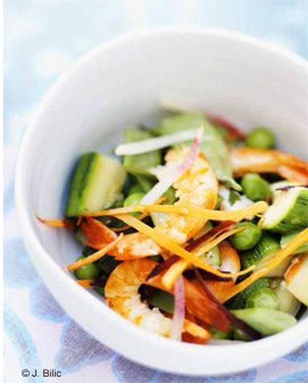 Crevettes aux légumes sautés