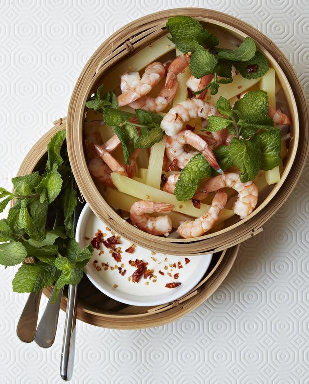 Crevettes-frites, sauce au piment