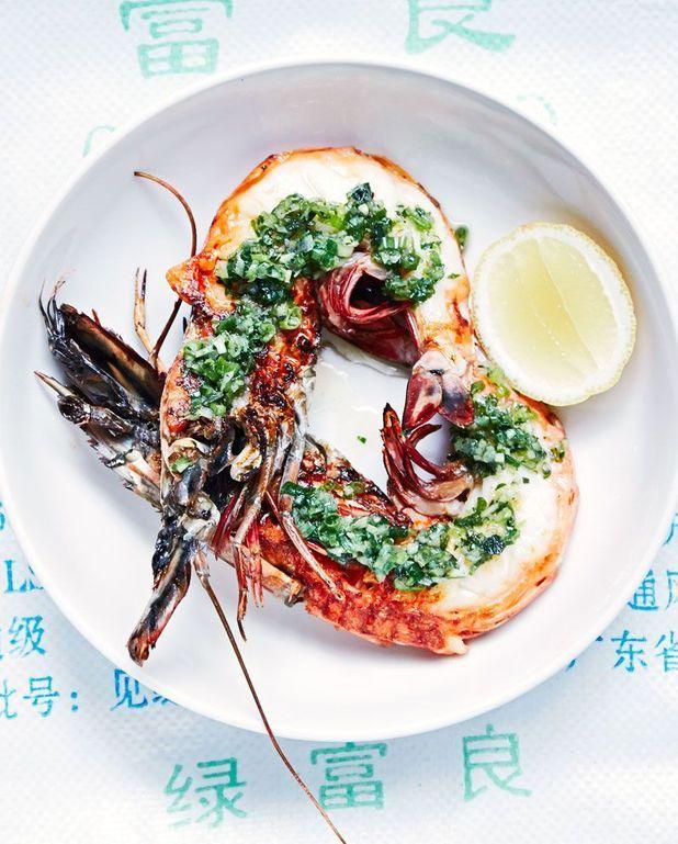 Crevettes grillées au gingembre et à l'ail