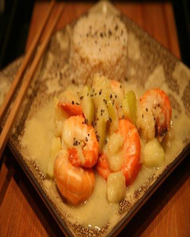 Crevettes grillées au lait de coco